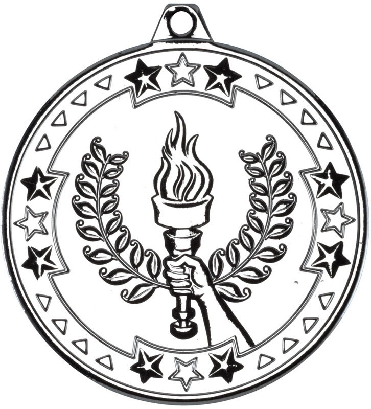"Silver Tri Star Victory Torch Medal 50mm (2"")"