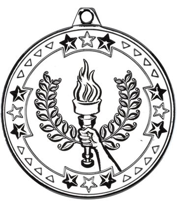 """Silver Tri Star Victory Torch Medal 50mm (2"""")"""