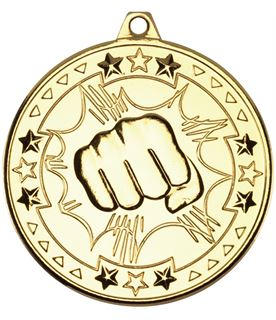 "Gold Tri Star Martial Arts Medal 50mm (2"")"