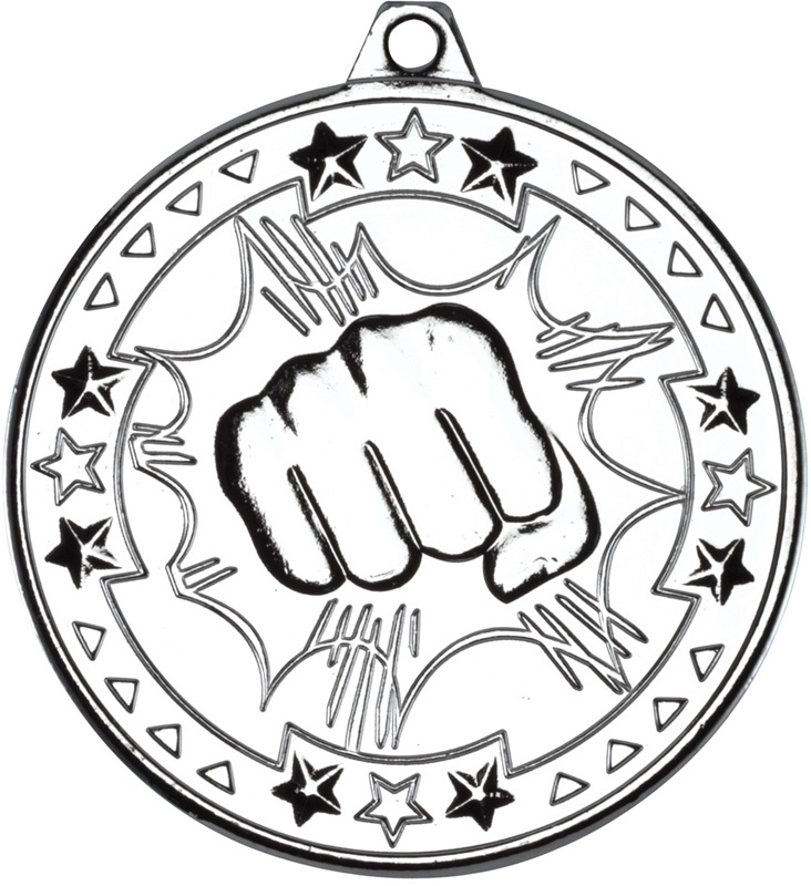 "Silver Tri Star Martial Arts Medal 50mm (2"")"