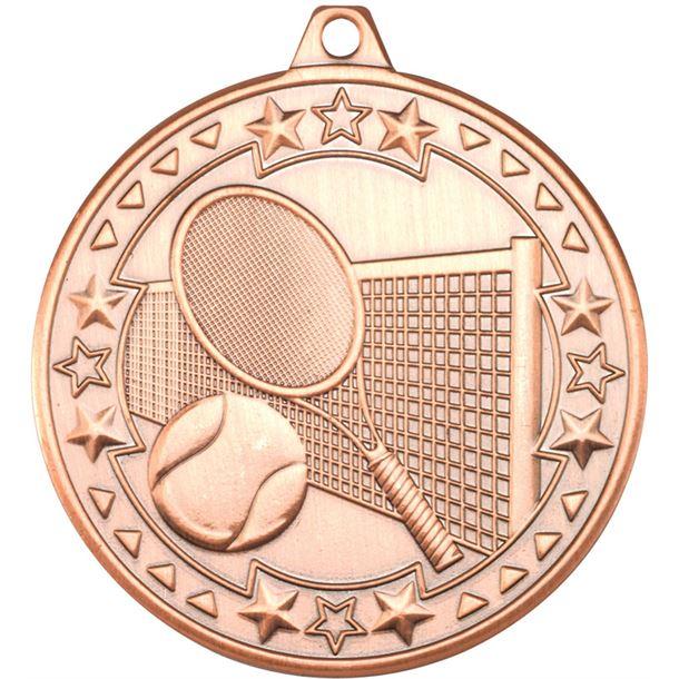 "Bronze Tri Star Tennis Medal 50mm (2"")"