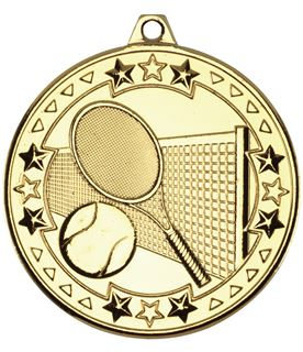 "Gold Tri Star Tennis Medal 50mm (2"")"