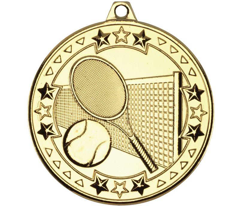 "Gold Tri Star Tennis Medal 50mm (2"")"