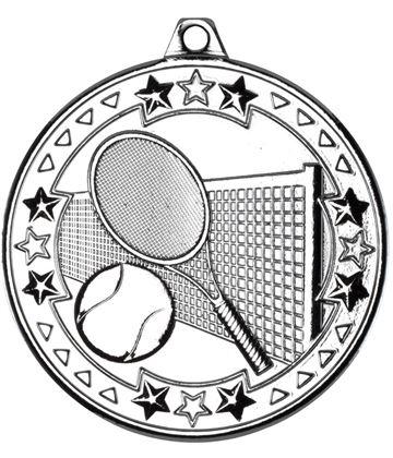 "Silver Tri Star Tennis Medal 50mm (2"")"