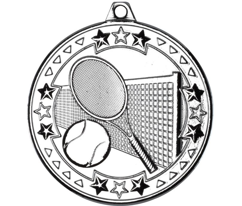 "Silver Tri Star Tennis Medal 50mm (2"")"