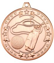 "Bronze Tri Star Golf Medal 50mm (2"")"