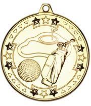 "Gold Tri Star Golf Medal 50mm (2"")"