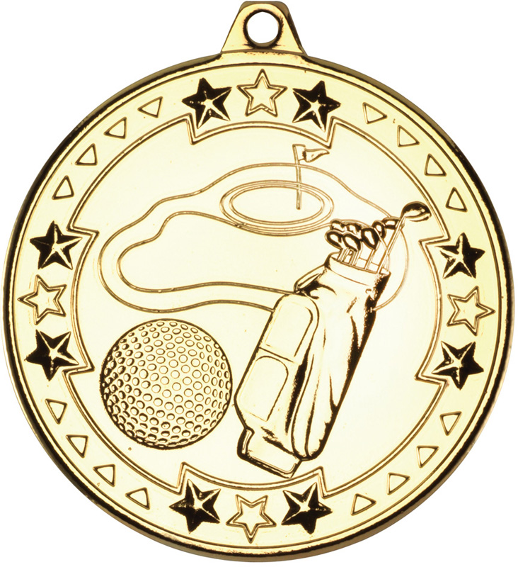 "Gold Tri Star Golf Medal 50mm (2"")"