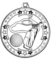 """Silver Tri Star Golf Medal 50mm (2"""")"""