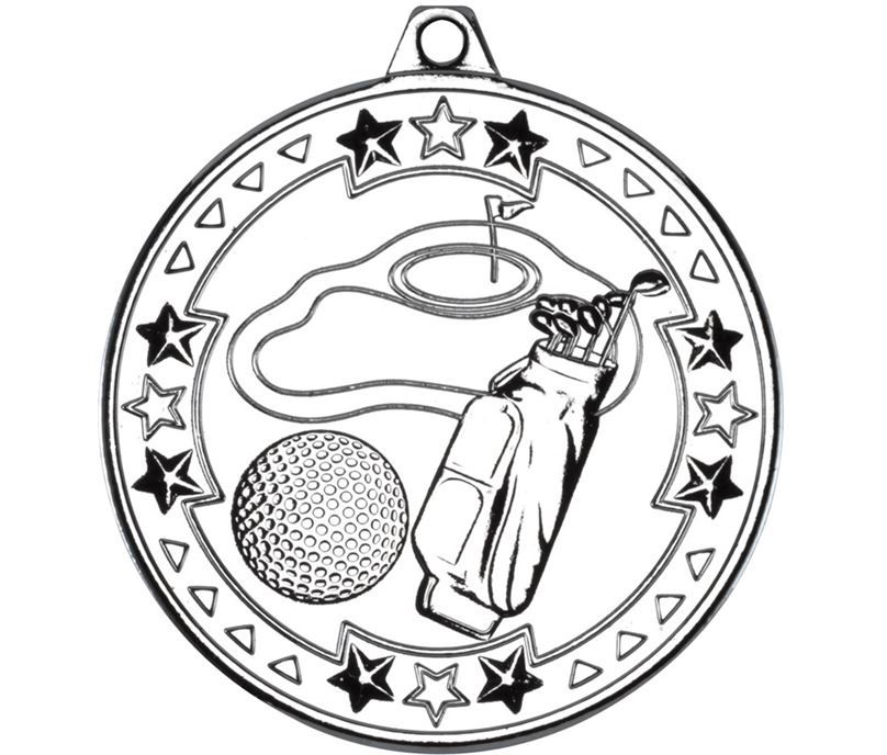 "Silver Tri Star Golf Medal 50mm (2"")"