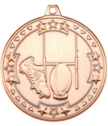 "Bronze Tri Star Rugby Medal 50mm (2"")"