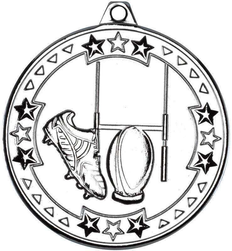 "Silver Tri Star Rugby Medal 50mm (2"")"