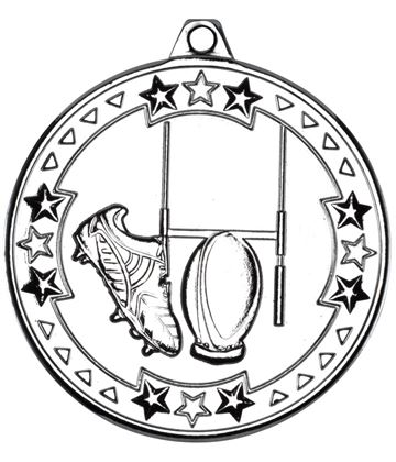 "Silver Tri Star Rugby Medal 50mm (2"")"