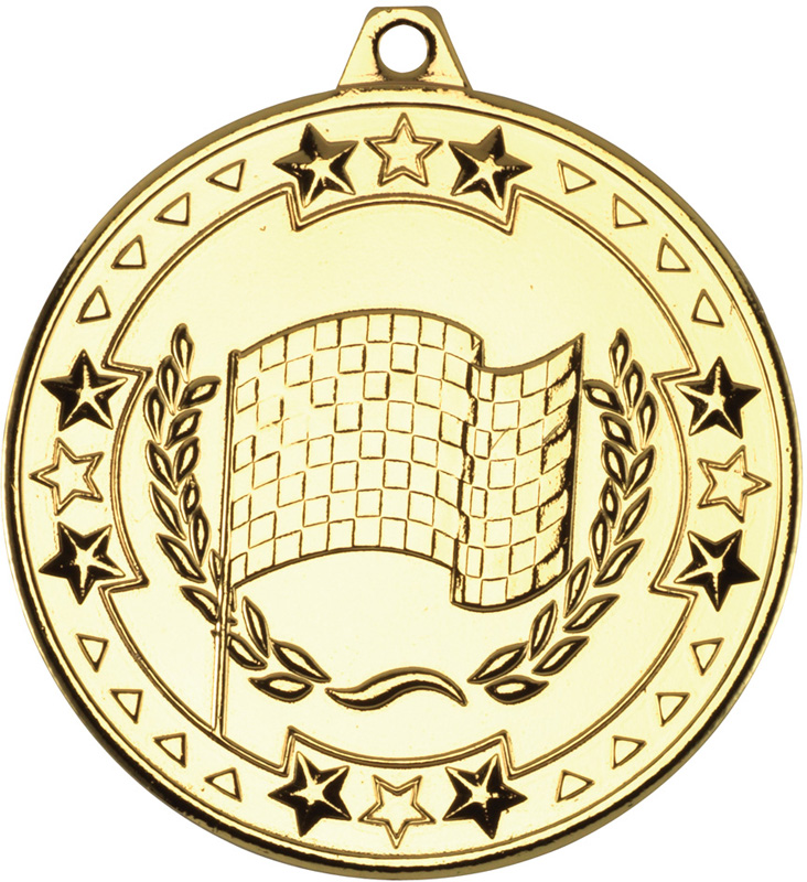 "Gold Tri Star Motor Sport Medal 50mm (2"")"