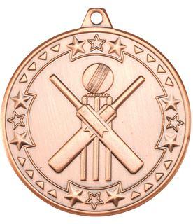 "Bronze Tri Star Cricket Medal 50mm (2"")"