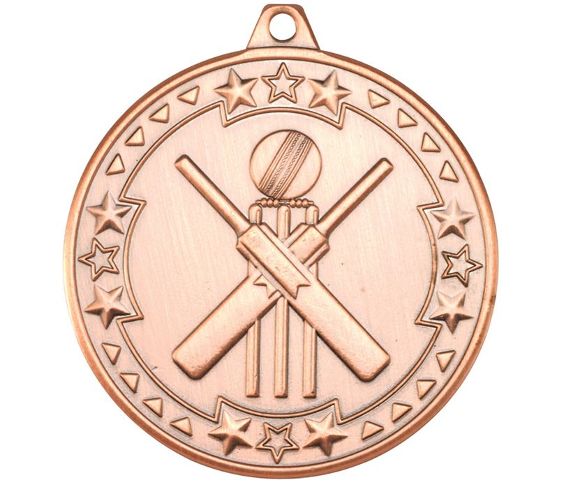 "Bronze Tri Star Cricket Medal 50mm (2"")"
