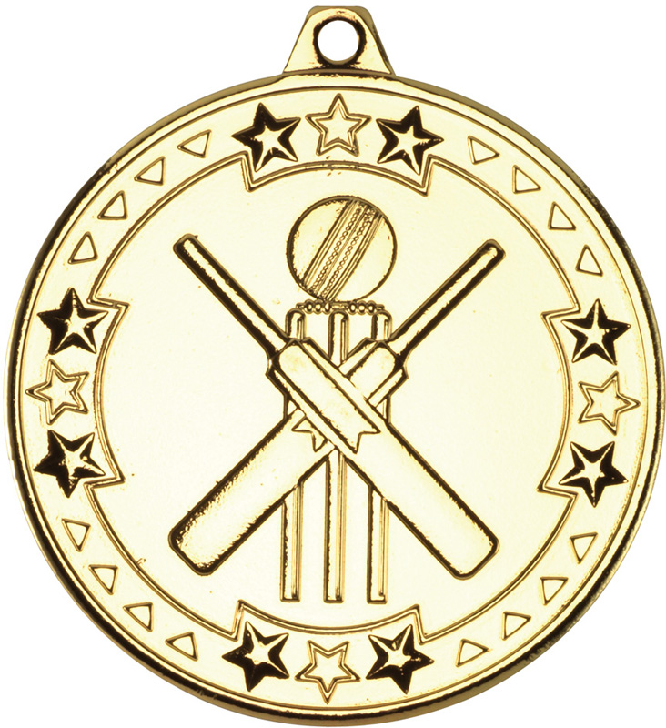 "Gold Tri Star Cricket Medal 50mm (2"")"