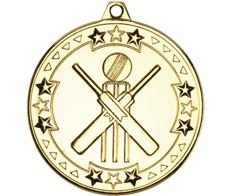"Gold Tri Star Cricket Medal 50mm (2"")"