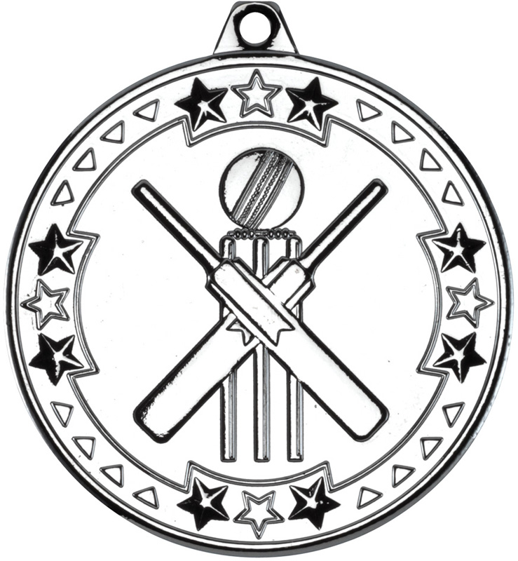 "Silver Tri Star Cricket Medal 50mm (2"")"