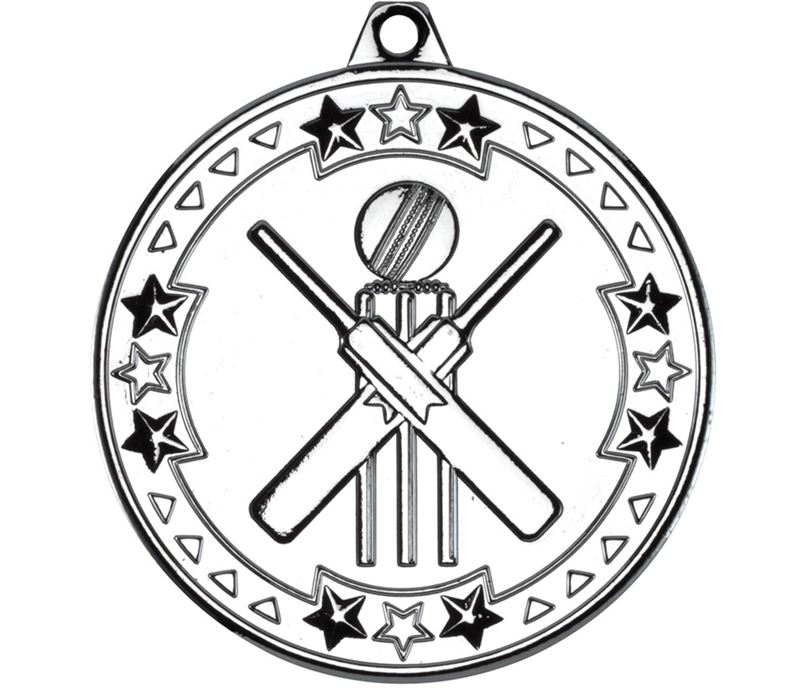 "Silver Tri Star Cricket Medal 50mm (2"")"