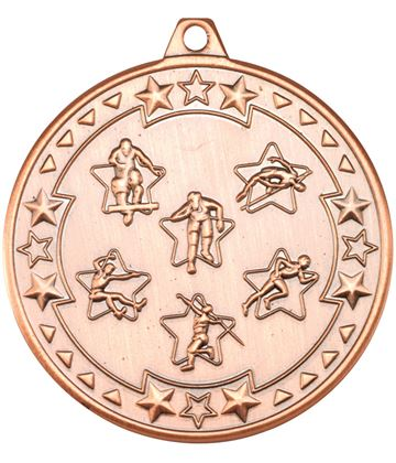 "Bronze Tri Star Multi Athletics Medal 50mm (2"")"