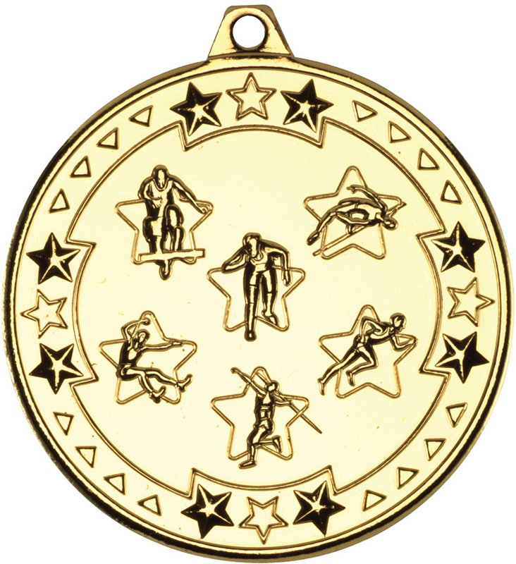 "Gold Tri Star Multi Athletics Medal 50mm (2"")"