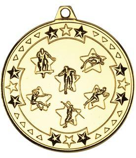 "Gold Tri Star Multi Athletics Medal 50mm (2"")"