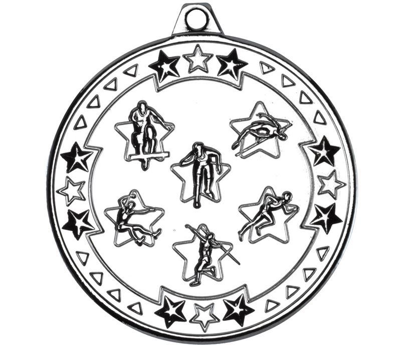 "Silver Tri Star Multi Athletics Medal 50mm (2"")"