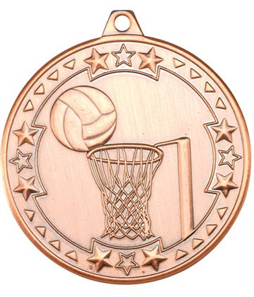 "Bronze Tri Star Netball Medal 50mm (2"")"