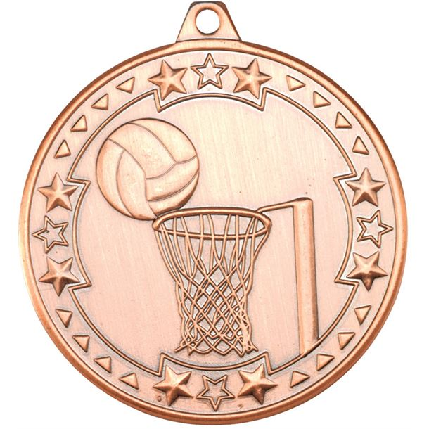 "Bronze Tri Star Netball Medal 50mm (2"")"