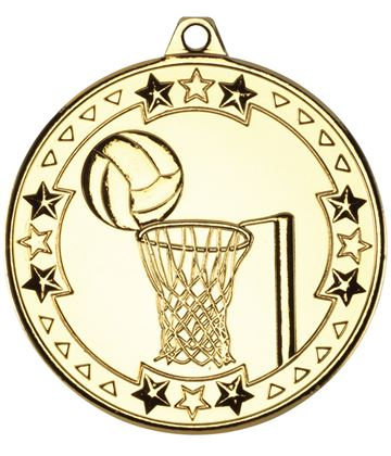 "Gold Tri Star Netball Medal 50mm (2"")"