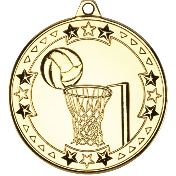 "Gold Tri Star Netball Medal 50mm (2"")"