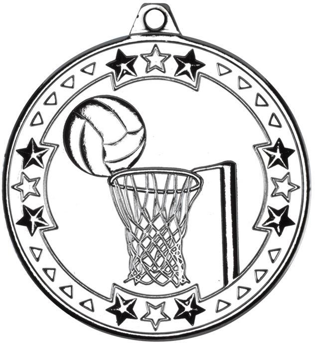 "Silver Tri Star Netball Medal 50mm (2"")"