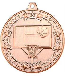 "Bronze Tri Star Basketball Medal 50mm (2"")"