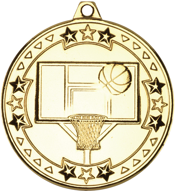 "Gold Tri Star Basketball Medal 50mm (2"")"