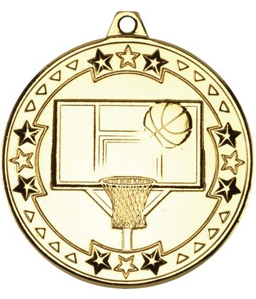 "Gold Tri Star Basketball Medal 50mm (2"")"