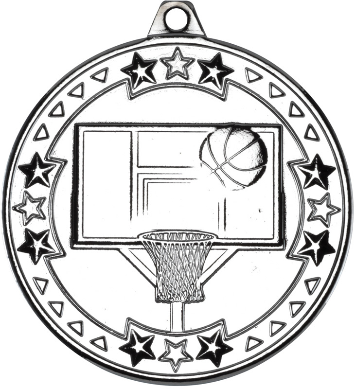 "Silver Tri Star Basketball Medal 50mm (2"")"
