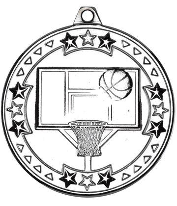 "Silver Tri Star Basketball Medal 50mm (2"")"