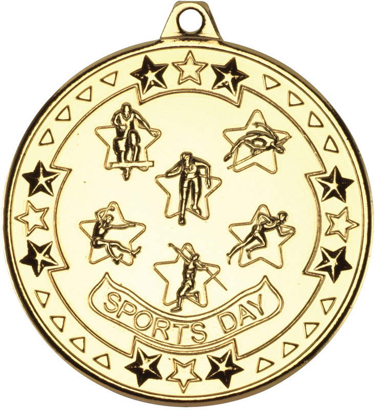 """Gold Tri Star Sports Day Medal 50mm (2"""")"""