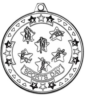 "Silver Tri Star Sports Day Medal 50mm (2"")"