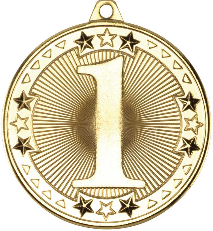 "Gold Tri Star 1st Medal 50mm (2"")"