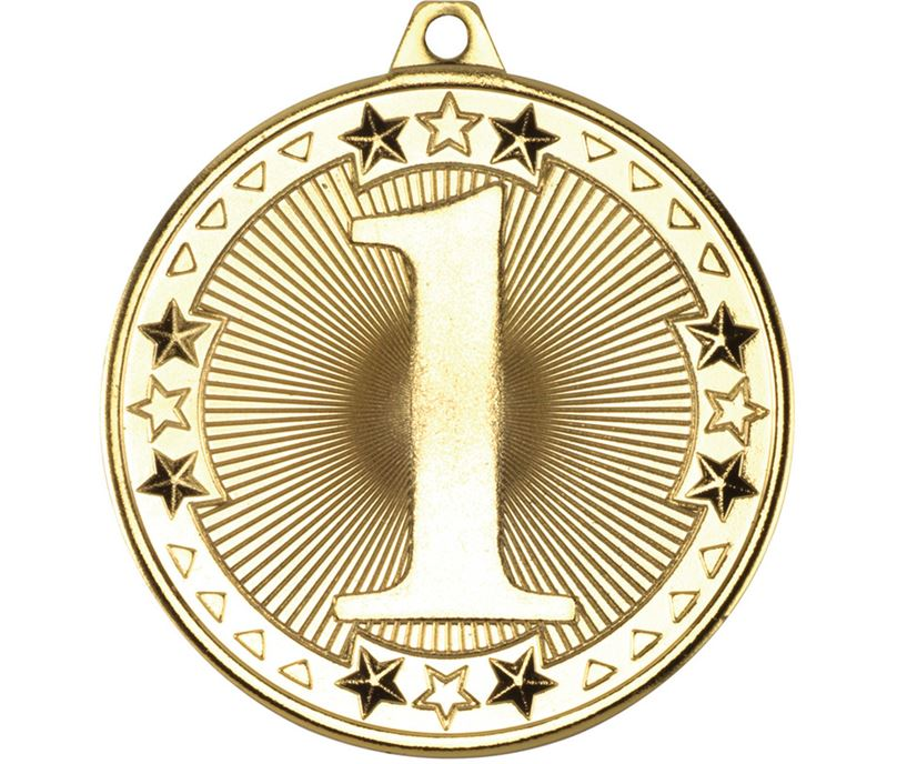 "Gold Tri Star 1st Medal 50mm (2"")"