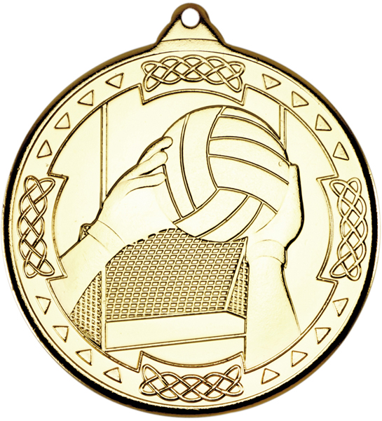 "Gold Gaelic Football Celtic Medal 50mm (2"")"