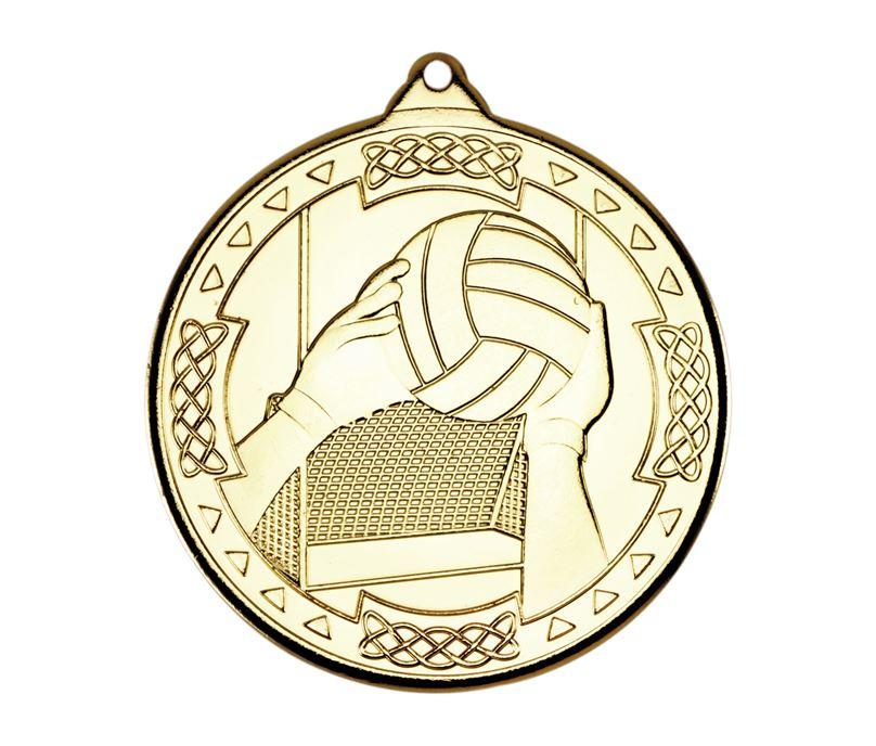 """Gold Gaelic Football Celtic Medal 50mm (2"""")"""