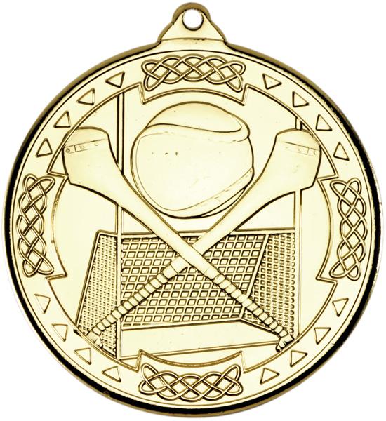 "Gold Hurling Celtic Medal 5cm (2"")"