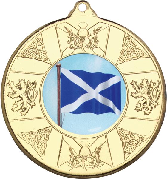 """Gold Scottish Patterned Medal 50mm (2"""")"""