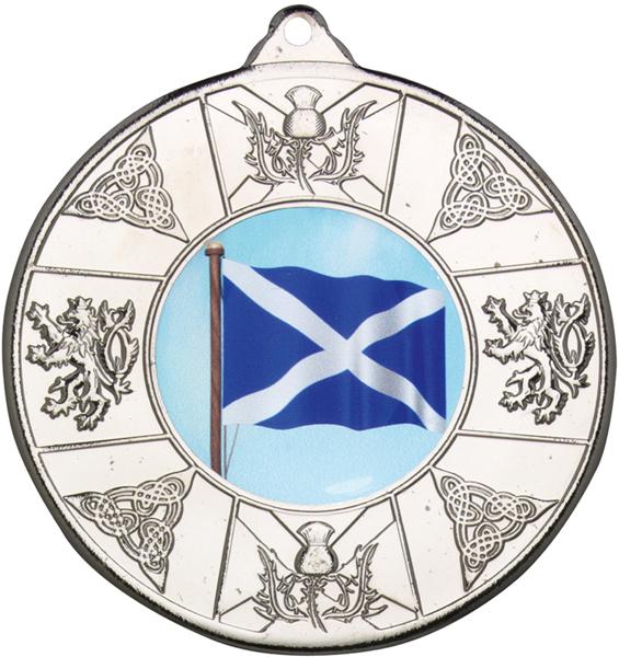 """Silver Scottish Patterned Medal 50mm (2"""")"""