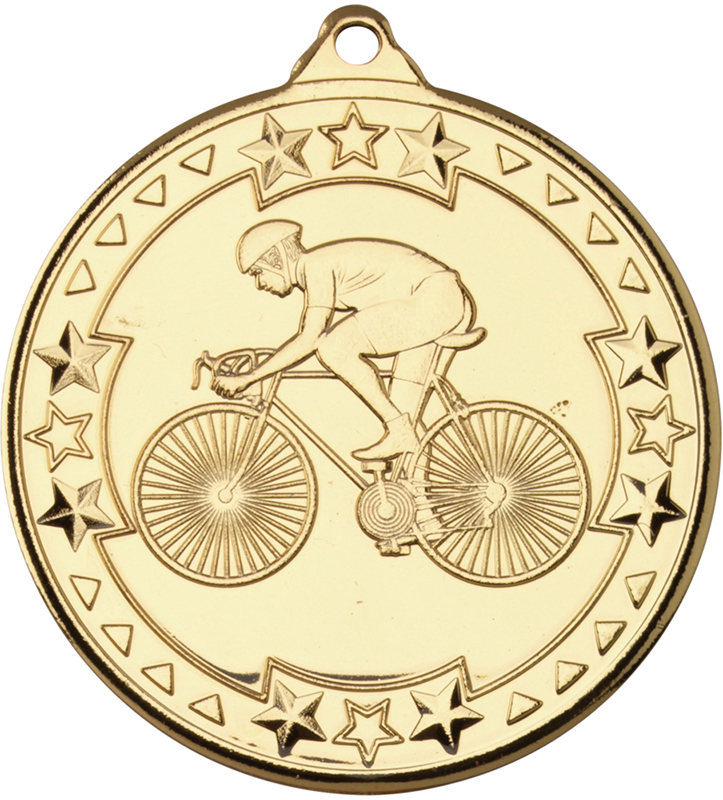 "Gold Tri Star Cycling Medal 50mm (2"")"