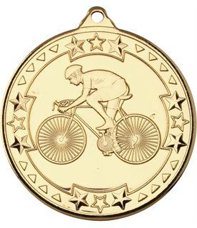 """Gold Tri Star Cycling Medal 50mm (2"""")"""