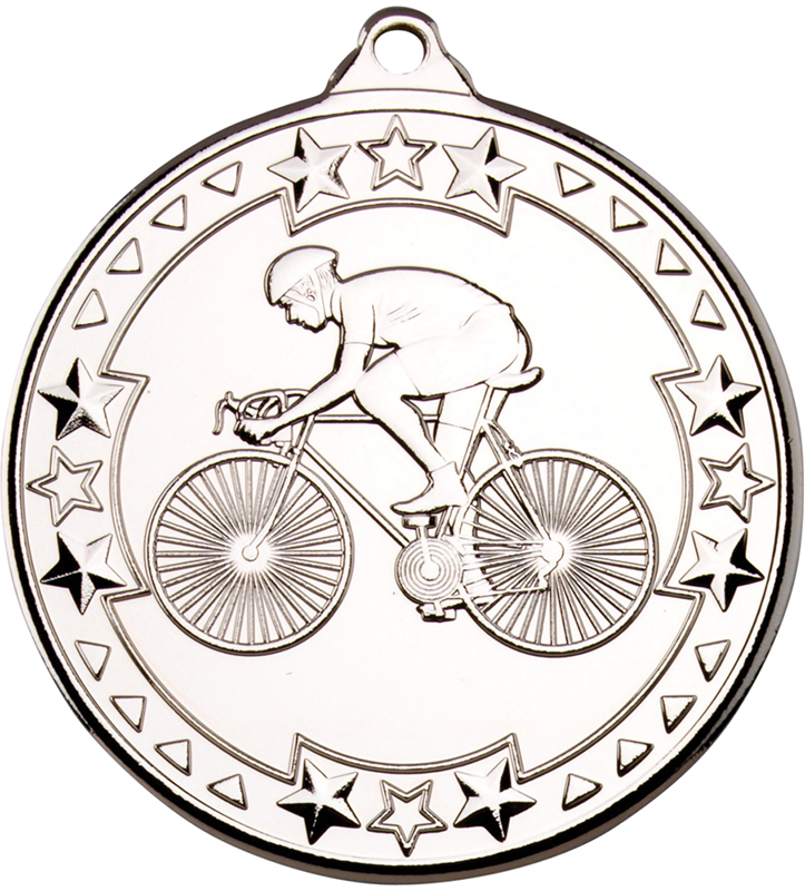 "Silver Tri Star Cycling Medal 50mm (2"")"